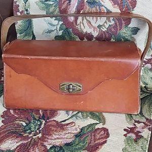 Vintage Brown Leather Rectangular Box Purse